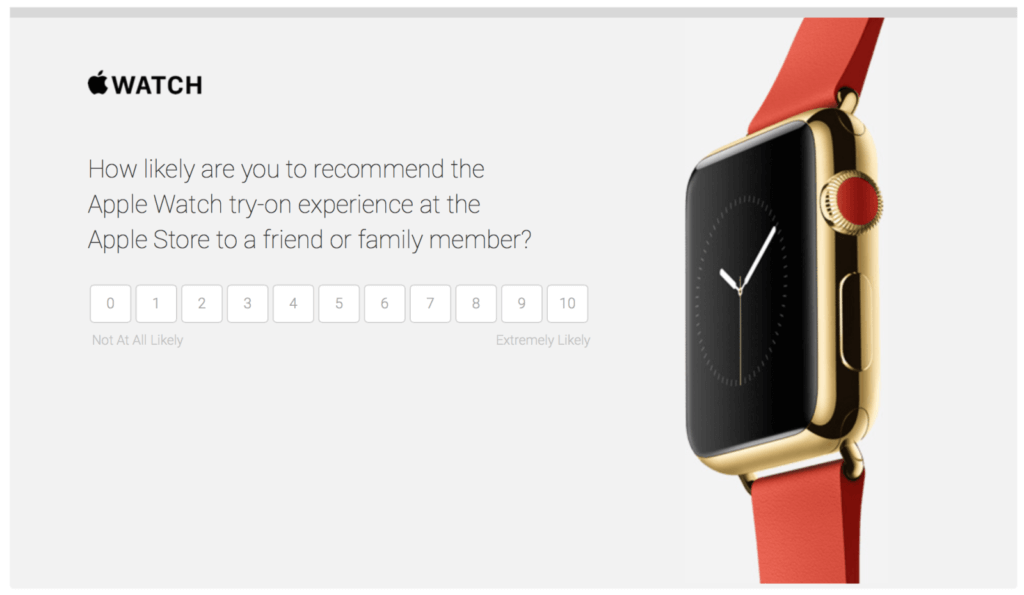User testing questions: Apple watch NPS Survey example