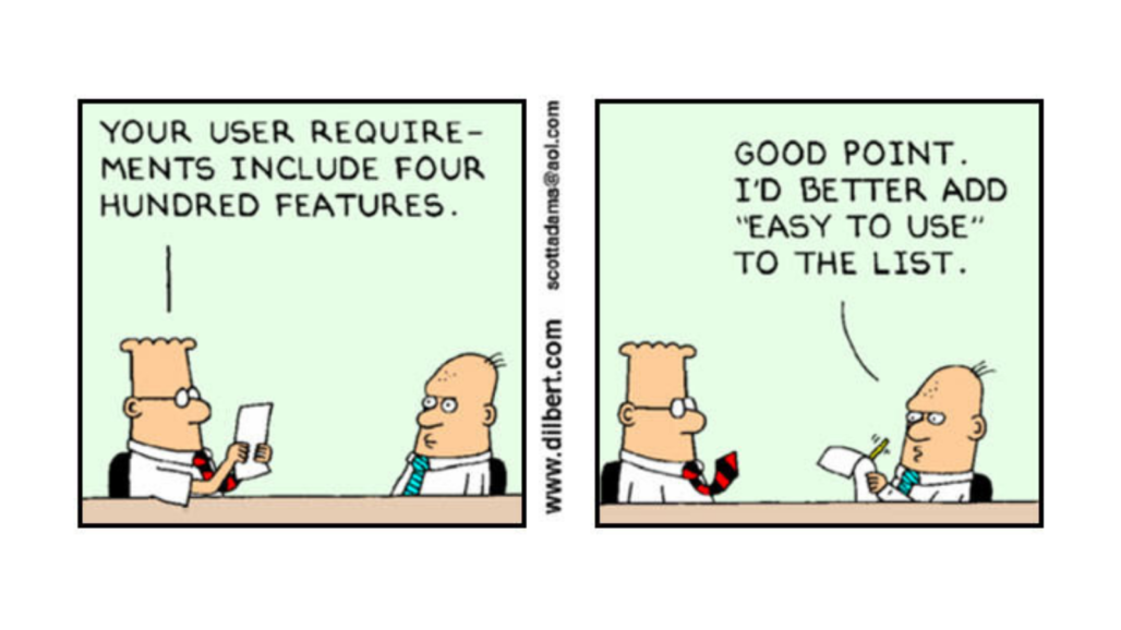 Illustration comic on user requirement gathering for MVP features